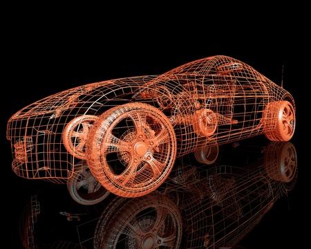 黒の背景上の近代的なモデルの車の 3 d レンダリングのフロント ビュー