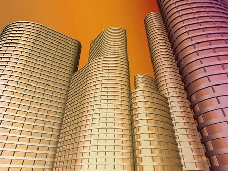 render: Skyscrapers 3d render  Stock Photo
