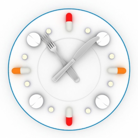 consist: a clock consist of the plate, pills, forks with a knife on a white background  3D illustrations Stock Photo