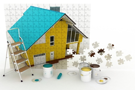 house painter: Picture of house with paints and step-ladder on a white background   Conception of repair works