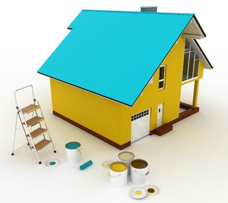 stepladder: 3d house with paints and step-ladder on a white background  Conception of repair works