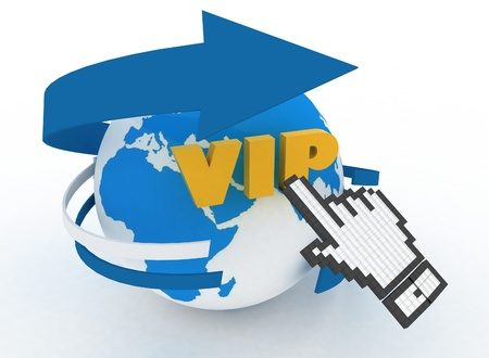 Earth globe and hand cursor on a word  vip   3d illustration of internet world wide web concept Stock Illustration - 20929155