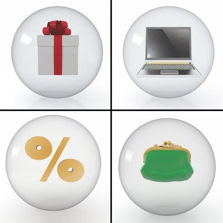 set van objecten om te winkelen op het internet, gestyled in doorzichtige bollen op witte achtergrond