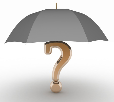 question sign under  umbrella  3d illustration on white isolated background  illustration