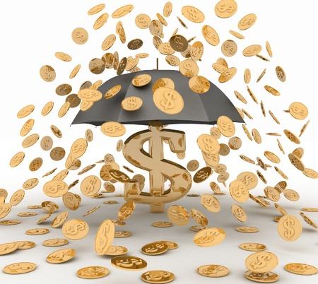 umbrella in the rain of coins  3d illustration on white background  illustration