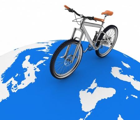 turismo ecologico: Bicicletas rodando por la Concepci�n mundo del turismo en un transporte ecol�gico Foto de archivo