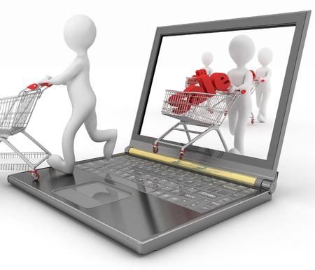 3 d 人間と、ラップトップは白い背景の上のオンライン購入をします。