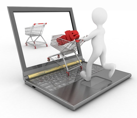 3d human and laptop online shopping on white background