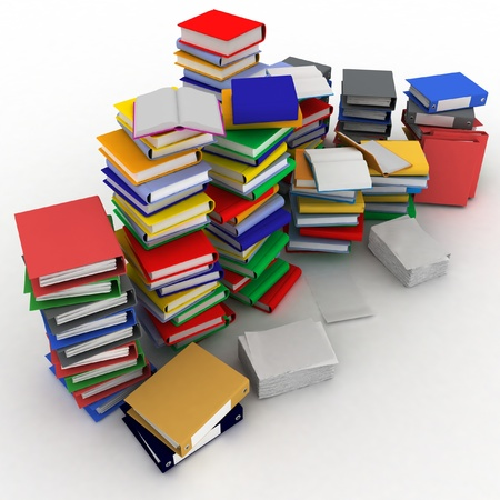 3d illustration of books  and folder for papers piles