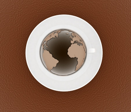 coffee cup and saucer with a globe on color background  3d illustration illustration