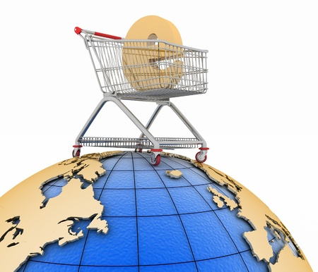 decoratiion: Sign of e-commerce  in a trolley on globe. Conception of trade transactions on the internet. 3d illustration on a white.