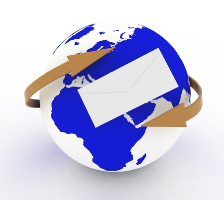 envelope icon and  earth with arrows  3d illustration on a white  illustration