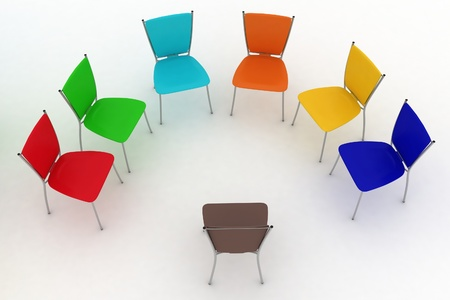 round chairs: group of chairs costs a half-round