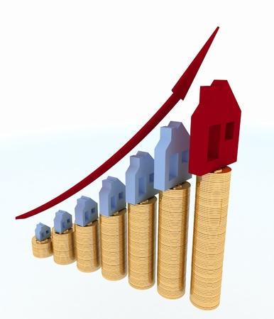 白い背景の上の不動産価格の 3 d 図で成長の図 写真素材