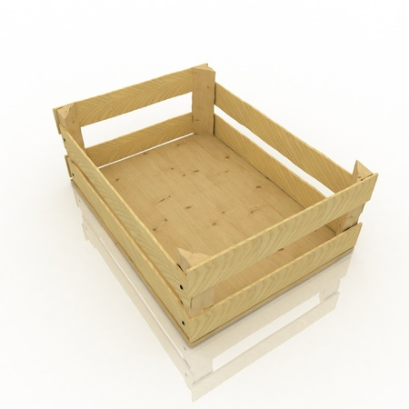 Empty wooden box  Container for fruits and vegetables  photo