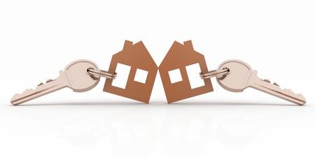 house warming: 3d model house symbol set with keys Stock Photo