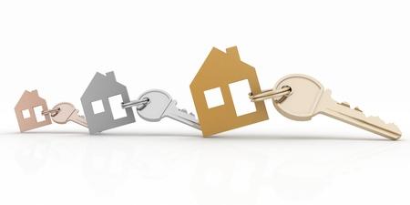 3d model house symbol set with keys Banco de Imagens - 21695381