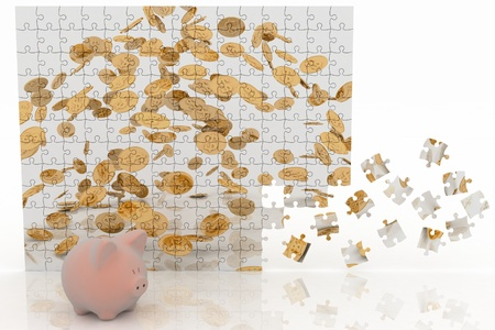 Piggy bank looking at the picture of the puzzle with falling coins  3d illustration on white background