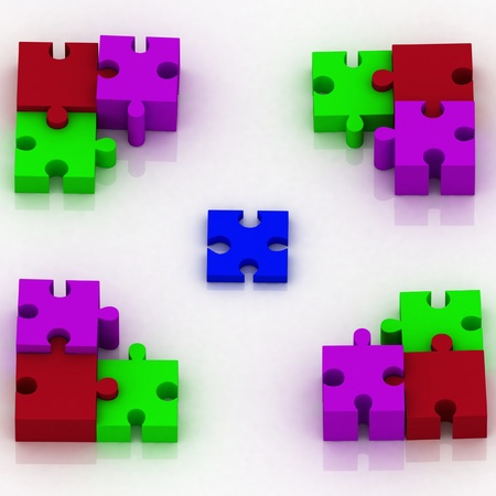 constituent: 3d constituent of puzzle  conception of choice Stock Photo