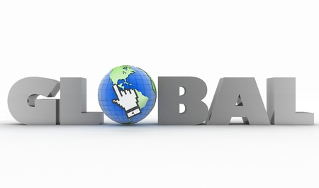 global communication: 3d illustration of word with a globe and mouse cursor on a white background