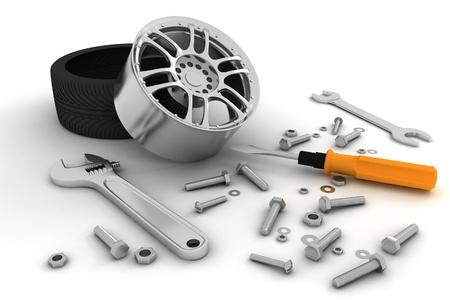 Wiel en Gereedschappen Auto service Geïsoleerde 3D-beeld