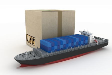 concep: cargoship with box on white  3d global business commerce concep Stock Photo