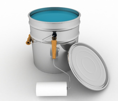 open bucket with a paint and roller  photo