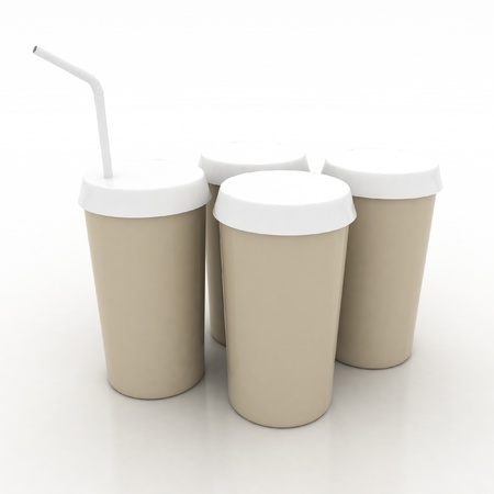 plastic fast food glasses with tubule on a white background photo
