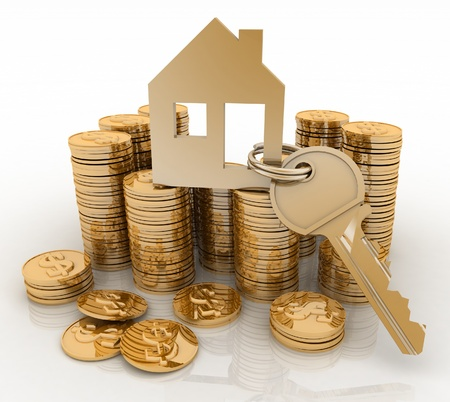 mortgage rates: 3d house symbol with key on Pile of gold coins  Conception of growth of mortgage credit Stock Photo