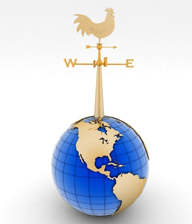 Weathercock and globe  3d illustration on white background   illustration