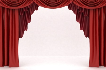 curtain theatre: Open red theater curtain, background Stock Photo