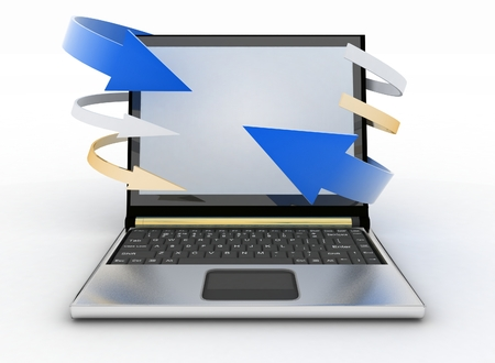 Laptop with arrows on white background  Concept of download  3d render illustration