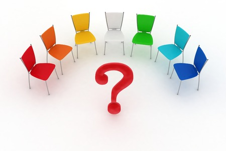Multicolored office chairs are put by a half-round with the question-mark in a center  Stock Photo - 22867963