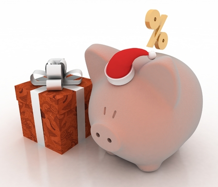 Piggy bank with Santa Claus hat  3d illustration on a white background  illustration