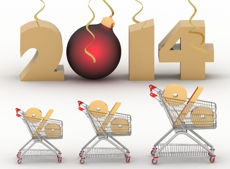 concept of new-year sales  3d illustration on white background  Imagens