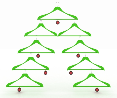 hangers: Christmas tree made of clothes hangers decorated with red balls  3d render illustration