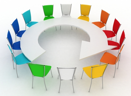 round chairs: group of chairs stands at a table as an arrow