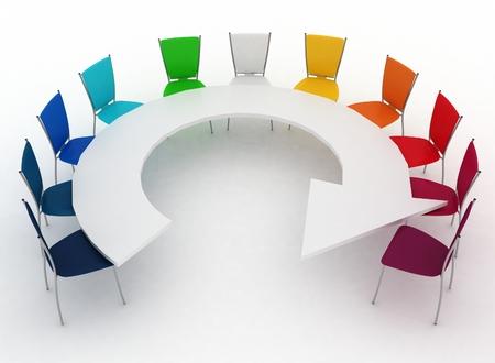 muebles de oficina: grupo de sillas se sit�a en una tabla como una flecha
