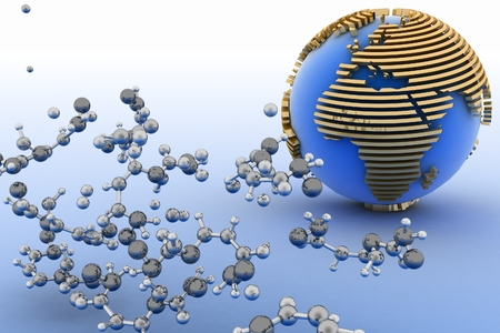 Globe with molecules  3d abstract background photo