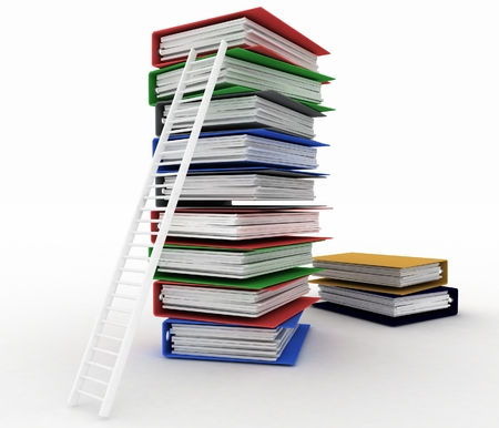 Folders and ladder  Conception of career advancement photo