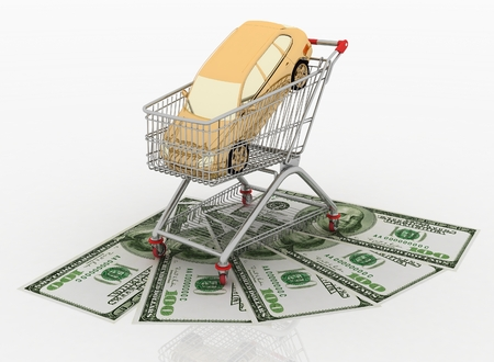 shopping cart icon: purchase of machine in a cart from a supermarket on a white background Stock Photo