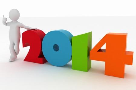 Man presenting new year 2014  3d illustration rendering on white background illustration