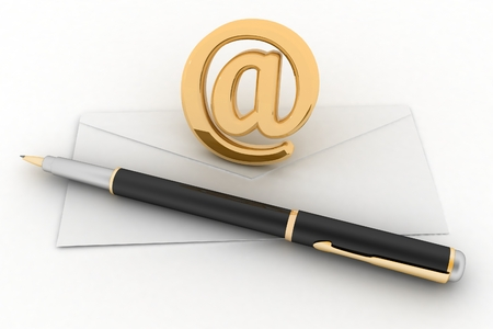 get in touch: Envelope, pen and showing mail or communication concept  3d illustration on white background Stock Photo