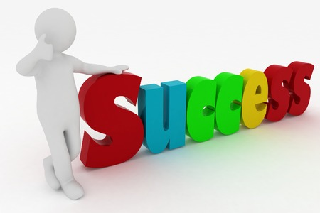 attaining: man attaining success  3d illustration over white Stock Photo