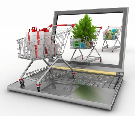 e commerce icon: Concept of Christmas online shopping  3d illustration  Laptop computer  with festive shopping carts on white background
