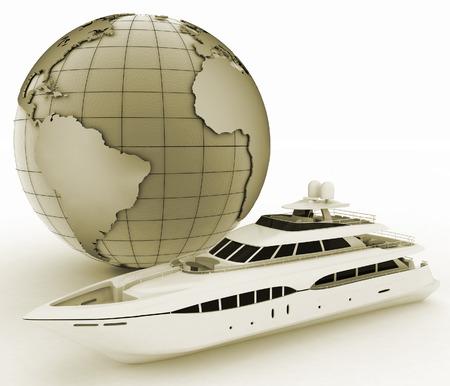 yacht and globe  3d illustration on white isolated background