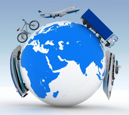 types of transport on a globe  photo