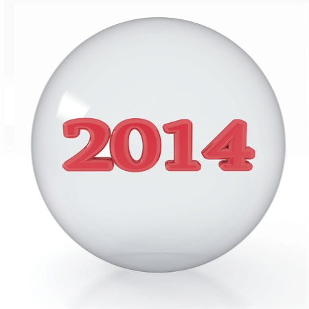2014 year is in a transparent ball  Isolated 3D image  photo