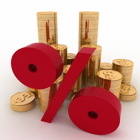 golden coins on percent  Conception of growth of income photo