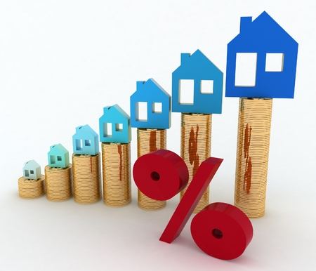 Diagram of growth in real estate prices and sign of  percent  3d illustration on white background  illustration
